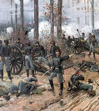 Union cannons firing at the Battle of Shiloh