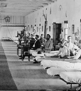 Photo of soldiers at a hospital during the Civil War