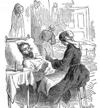 Sketch of a nurse treating a Civil War soldier