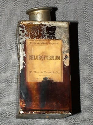 A chloroform bottle used during the Civil War